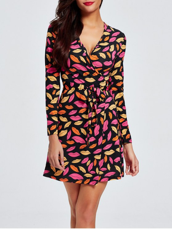 shops Plunge Neck Printed Wrap Dress - MULTI 2XL