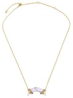 Artificial Stone Crescent Necklace - Golden