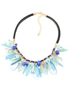 Faux Leather Chains Rammel Beaded Necklace - Blue