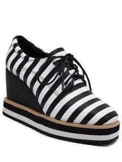 Square Toe Lace-Up Striped Platform Shoes - Black 38
