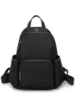Casual PU Spliced Nylon Backpack - Black