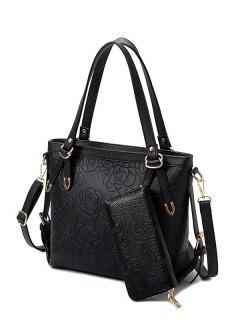Flower Pattern Embossing Metal Shoulder Bag - Black