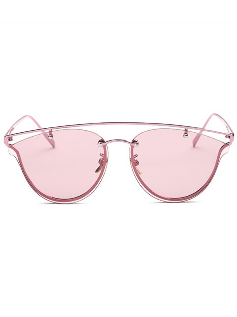 trendy Transparent Lens Crossbar Butterfly Sunglasses - PINK  Mobile