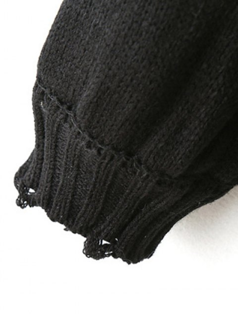 online Pullover Sweater With Tassels - BLACK ONE SIZE Mobile