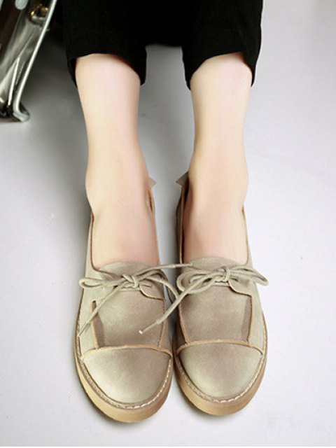 sale Preppy Lace-Up Flat Shoes - CAMEL 39 Mobile