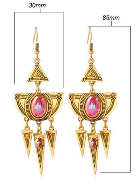 women Faux Crystal Layered Alloy Geometric Earrings - GOLDEN  Mobile