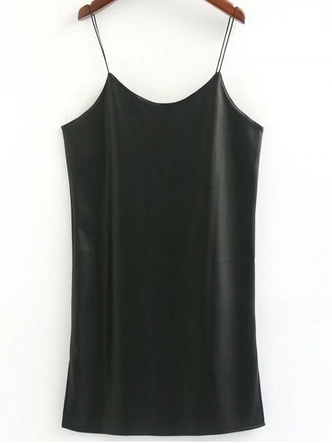 trendy PU Leather Loose Cami Dress - BLACK ONE SIZE Mobile