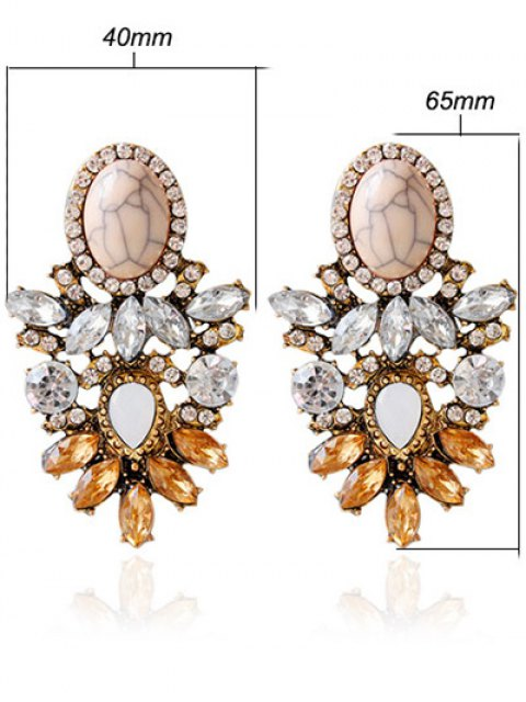 latest Alloy Faux Crystal Rhinestone Oval Earrings - BROWN  Mobile