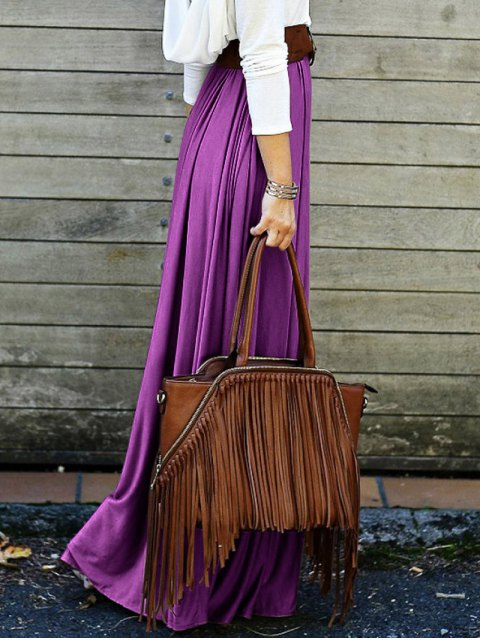 ladies Purple High Waisted Long Skirt - PURPLE XL Mobile