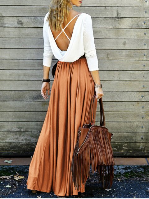 shops Spliced Back Criss-Cross Maxi Dress - ORANGE S Mobile