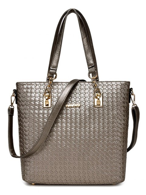 fancy Woven Pattern PU Leather Metal Shoulder Bag - GRAY  Mobile