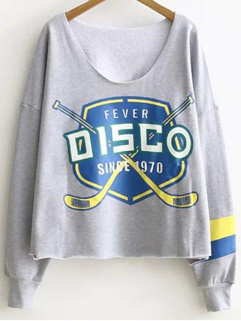buy Raw Edge Batwing Sweatshirt - GRAY ONE SIZE Mobile
