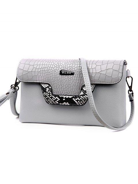 lady Crocodile Print Color Splicing Metal Crossbody Bag - LIGHT GRAY  Mobile