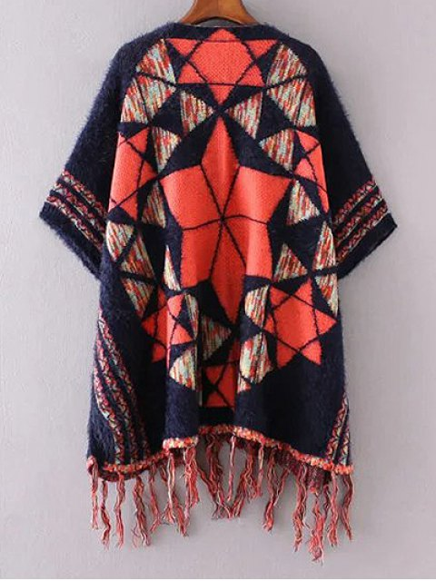 chic Jacquard Knit Poncho Cardigan - PURPLISH BLUE ONE SIZE Mobile
