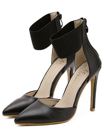 Elastic Band Stiletto Heel Pumps - BLACK 38 Mobile