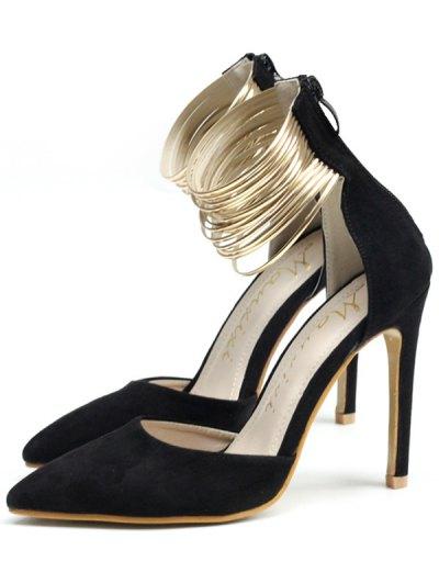 Pointed Toe Metallic Stiletto Heel Pumps - BLACK 40 Mobile