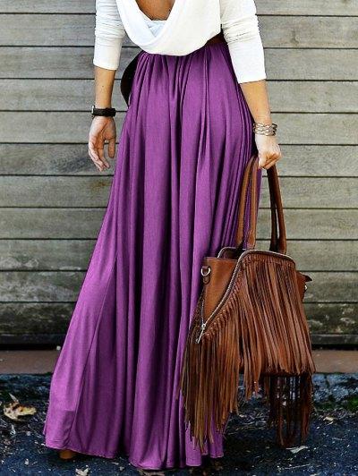 Purple High Waisted Long Skirt - PURPLE L Mobile