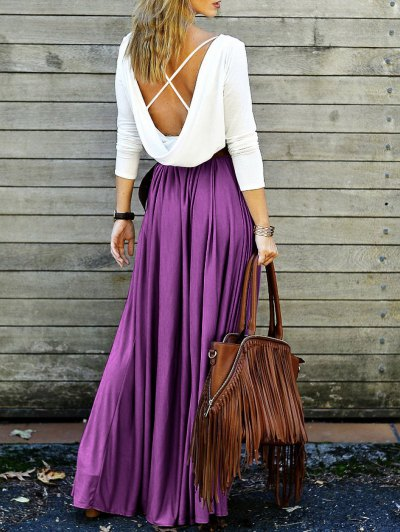 Spliced Back Low Cut Criss-Cross Maxi Dress - Purple