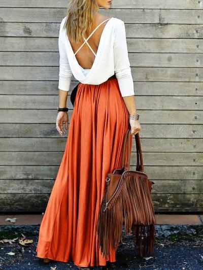 Volver Empalmada Del Entrecruzamiento De Vestido Maxi - Naranja