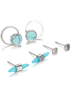 Faux Rammel Round Square Alloy Earrings - Silver