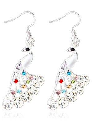 Rhinestone Peacock Drop Wedding Earrings Jewelry - White