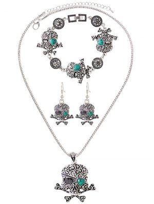 Faux Turquoise Skull Heart Jewelry Set - Silver