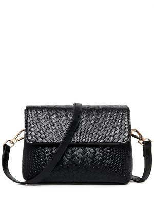 Woven PU Leather Crossbody Bag - Black