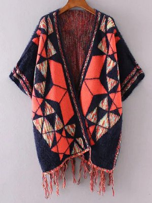 Jacquard Knit Poncho Cardigan - Purplish Blue
