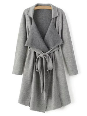 Lapel Belted Longline Cardigan - Gray