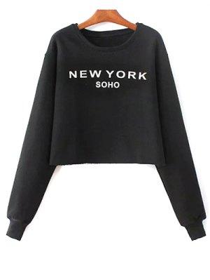 Letter Print Round Neck Sweatshirt - Black