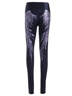 Wing Pattern High Waist Skinny Pants - Black