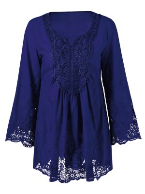 Lace Trim Plus Size Tunic Blouse - Deep Blue