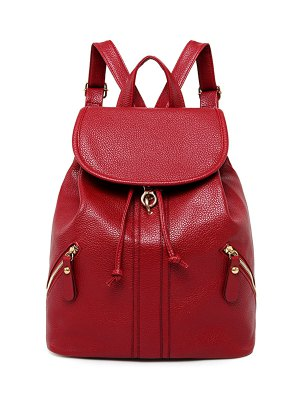 Zippers PU Leather Drawstring Backpack - Red