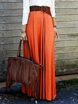 Solid Color High Waisted Long Skirt - Orange