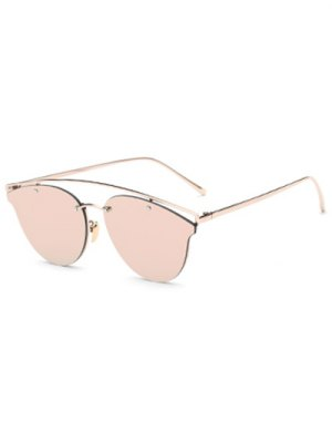 Crossbar Mirrored Butterfly Sunglasses - Pink