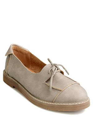 Preppy Lacets Chaussures Plates - Camel