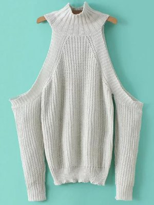 Stand Neck Cold Shoulder Sweater - White