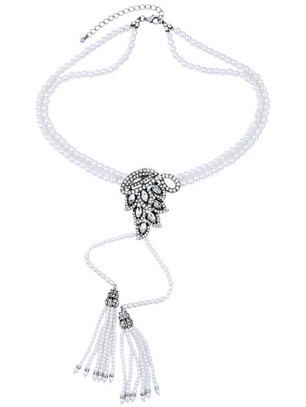 Rhinestone Faux Pearl Tassel Layered Necklace