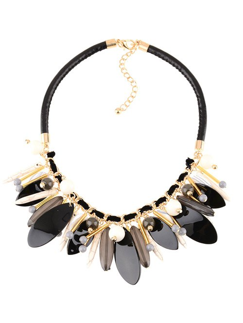 Faux Leather Rammel Chains Beaded Necklace