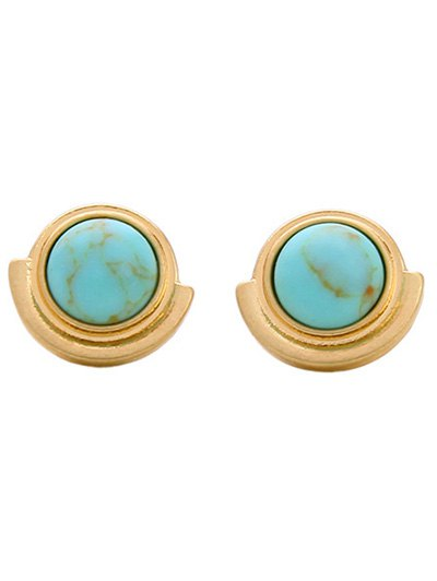 Artificial Stone Round Stud Earrings
