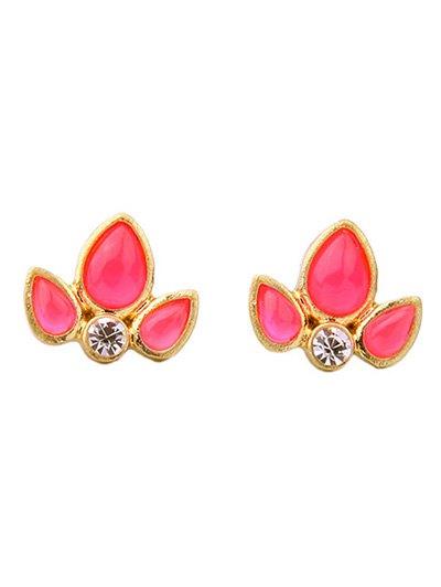 Rhinestone Leaf Stud Earrings