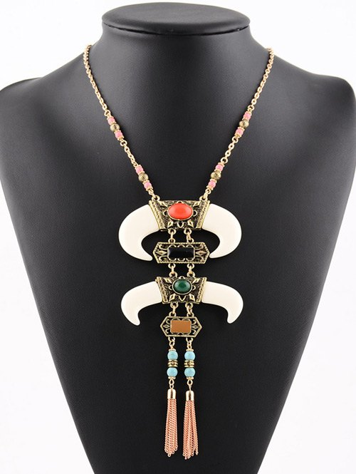 Faux Turquoise Geometric Chains Beaded Necklace