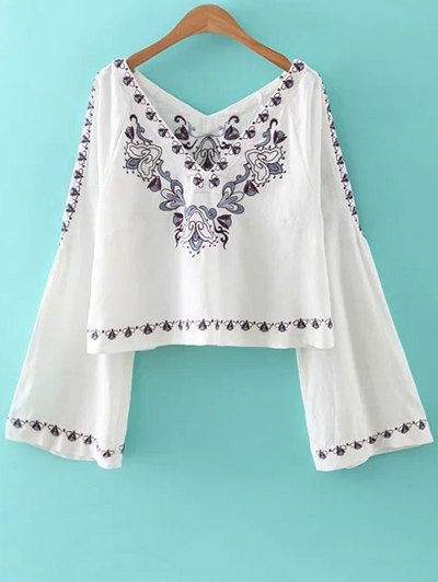 Flare Sleeve Embroidered Blouse