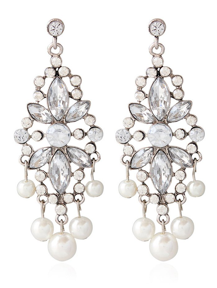 Rhinestoned Faux Pearl Wedding Jewelry Earrings