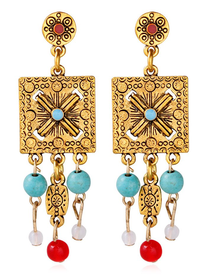 Engraved Floral Alloy Geometric Beads Earrings