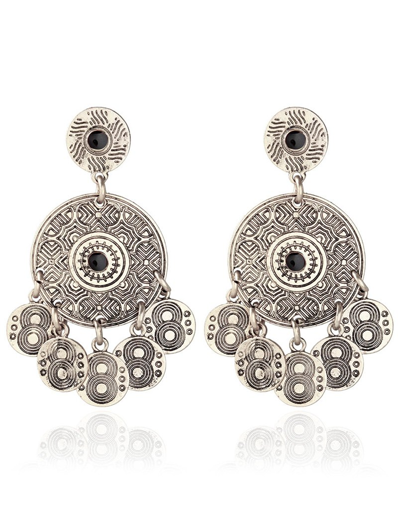 Alloy Engraved Round Pattern Drop Earrings
