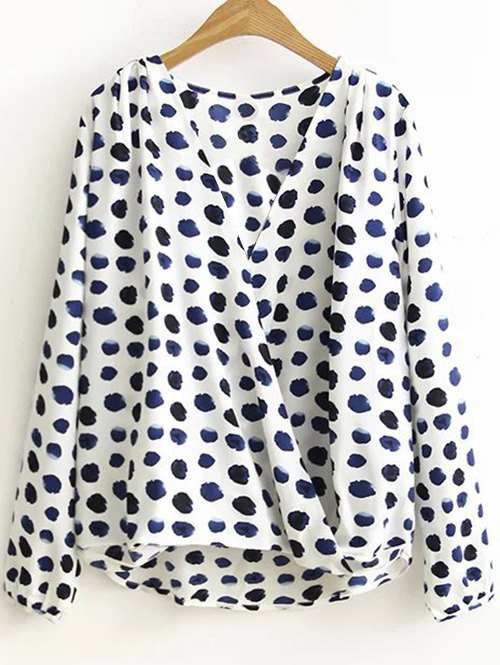 Dotted Long Sleeves Chiffon Blouse