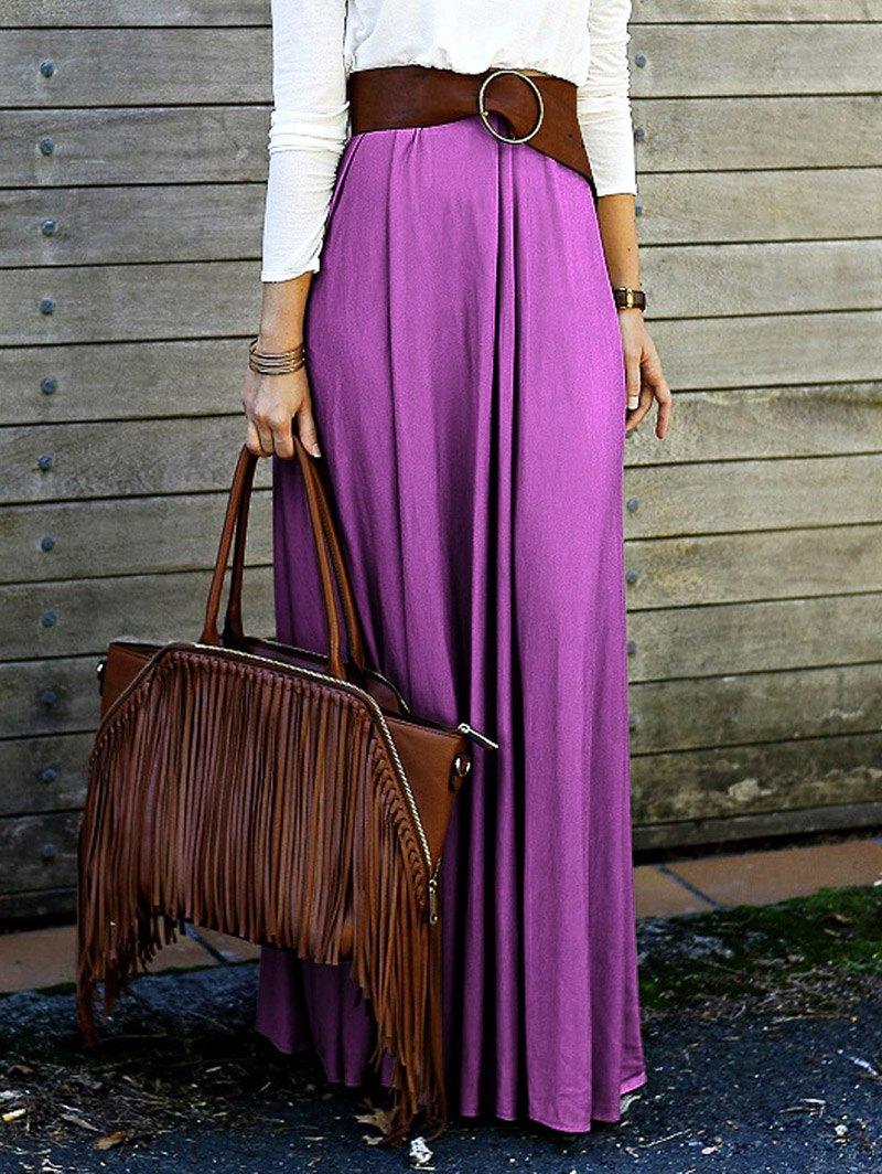 High Waisted Purple Long Skirt