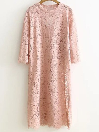 Jewel Neck Side Slit Guipure Lace Dress