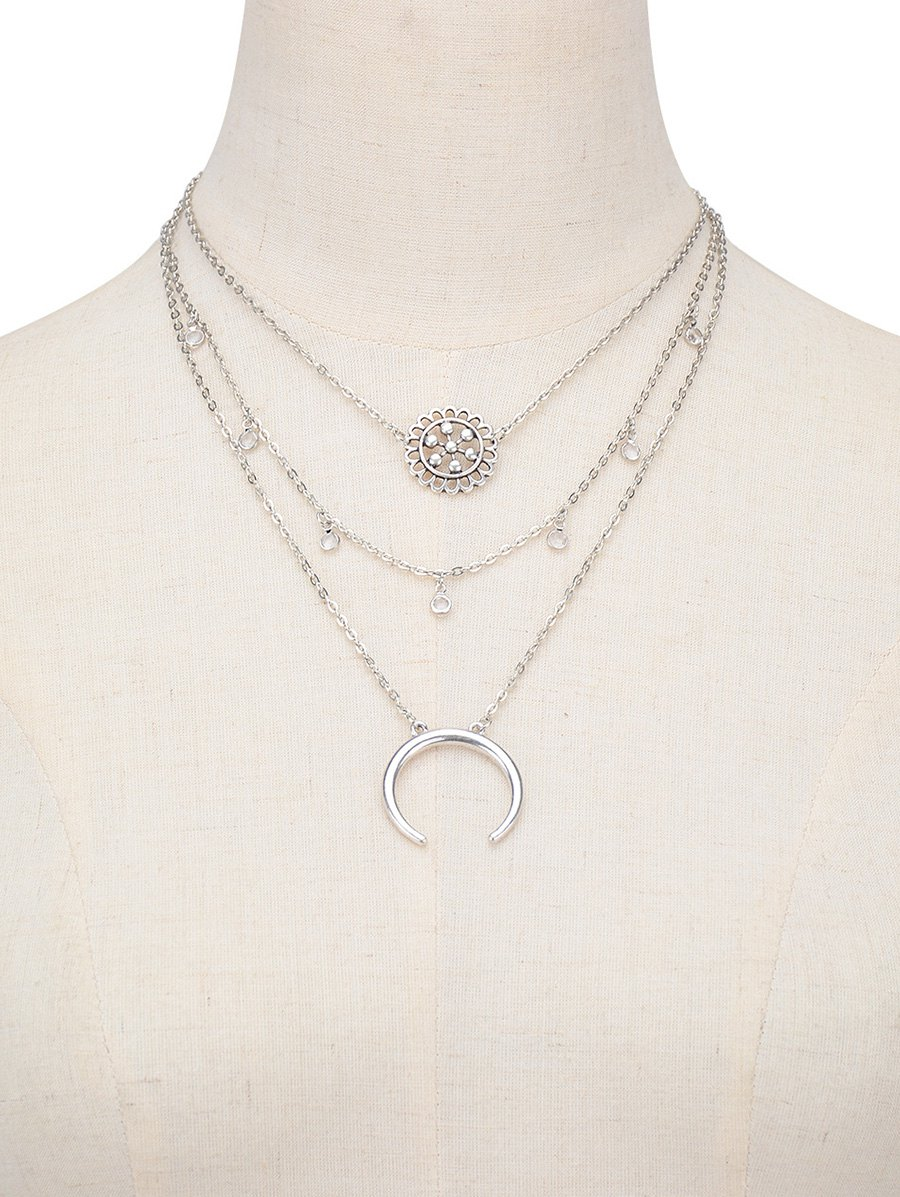 Multilayered Alloy Blossom Beads Circle Necklace